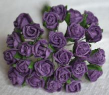 8mm DARK LILAC SEMI-OPEN ROSE BUDS Mulberry Paper Flowers